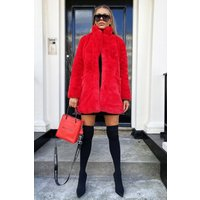 Cari's Closet Lola Faux Fur Jacket in Red size: Medium, colour: R