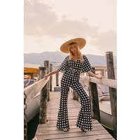Little Mistress x Amy Neville Monochrome Spot Self-Belt Jumpsuit size: