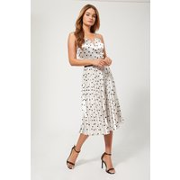 Girls on Film Prospect Silver Polka-Dot Pleated Midi Skirt size: 16 UK