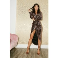 Girls on Film Divine Bronze Metallic Wrap Dress size: 8 UK, colour: Ro