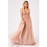 Little Mistress Issey Mink Hand Embellished Tulle Maxi Dress size: 6 U