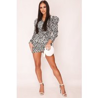 Hachu Leopard Print Mini Dress size: 10 UK, colour: Black & White