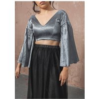 The Naked Laundry Waterfall Sleeve Crop Top- Stormy Grey size: 12 UK,