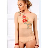 Sarvin NUDE LONG SLEEVE MESH BODYSUIT WITH FLORAL EMBROIDERY size: M,