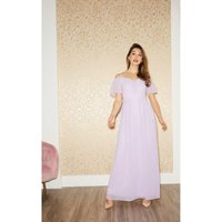 Little Mistress Vita Lilac Cold-Shoulder Maxi Dress size: 6 UK