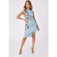 Little Mistress Tamra Floral-Print Pencil Dress size: 16 UK