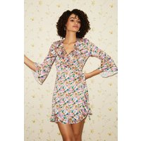 Little Mistress Sublime Floral-Print Satin Frill Wrap Dress size: 10 U