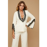 Paper Dolls Palma Cream Lace-Trim Blazer Co-ord size: 8 UK