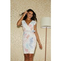 Paper Dolls Hackney White Spot-Print Belted Dress size: 14 UK, colour: