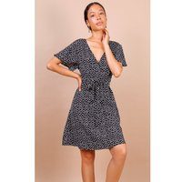 Lilura London Summer Black Daisy Dot Wrap Front Mini Dress size: L, co