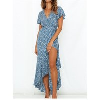 FS Collection Summer Wrap Maxi Dress In Blue Floral Print size: 12 UK,
