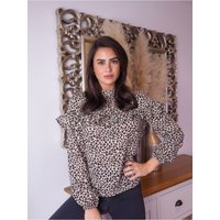 Trendyol Brown Frilly Blouse size: 14 UK, colour: Brown