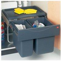 Space Saving Tandem waste bin, 1x18, 1x 12 litre