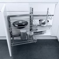 Complete Wari Corner Swing Out Corner Unit Set, with Classic Silver Linear Wire Baskets, for 900mm Cabinet Width