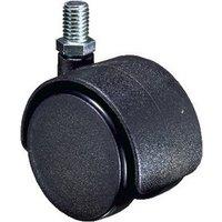 Twin Wheel Swivel Hooded Castor - 40kg Load Capacity, M10 Thread Fixing, 50mm Diameter Wheel