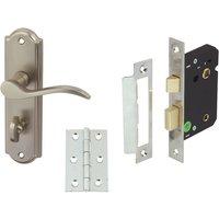 SYWELL door set packs, zinc alloy, levers on backplate set, bathroom version