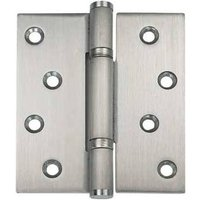 Stainless steel, fixed pin, 3 knuckle, shrouded bearing butt hinge, 102 x 89 mm