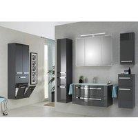 Luxus Badezimmer Komplettset mit großem Wandschrank FES-4005-66 in Hochglanz Lack Steingrau - B/H/T: 257/200/49,1cm