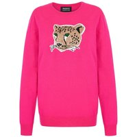 Natalie Sequin Leopard Face Relaxed-Fit Jumper