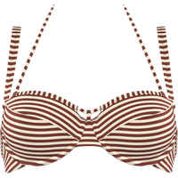 Holi Vintage Plunge Balconette Bikini Top   Wired Padded Red-ecru - 80d