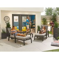 Product photograph showing Enna Sun Loungers Set With Arms Side Table