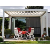 Product photograph showing 3m X 3m Aluminium Pergola With 4 Drop Sides And Led Lighting