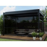 Product photograph showing 3m X 4m Aluminium Pergola With 4 Drop Sides And Led Lighting