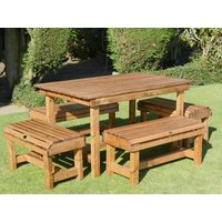 Product photograph showing Dales 6 Seat 4ft Rectangular Table With 4 Forms