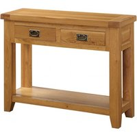 Product photograph showing Acorn Solid Oak Hall Table 2 Drawers