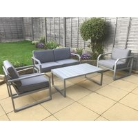 Product photograph showing Alarna 4 Seater Sofa Set With Coffee Table - Grey
