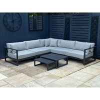 Product photograph showing Alessandria Aluminium Corner Sofa Set With Table And Stool