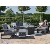 Product photograph showing Amalfi 2 Seat Sofa Set With Fire Pit Coffee Table