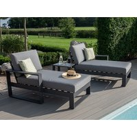 Product photograph showing Amalfi Double Sunlounger Set With Side Table
