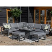 Product photograph showing Amalfi Large Corner Dining Set With Fire Pit Coffee Table