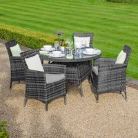 Product photograph showing Amelia 4 Seat Dining Set - 1 05m Round Table