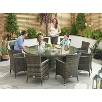 Product photograph showing Amelia 8 Seat Dining Set With Ice Bucket - 1 8m Round Table