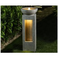 Product photograph showing Amity Water Feature With 2 Leds - Light Grey