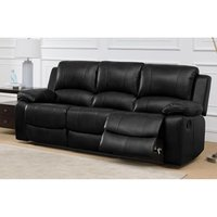 Product photograph showing Andalusia Recliner Leathergel And Pu 3 Seater Black