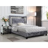 Product photograph showing Augustina Crushed Velvet Bed With Mirror