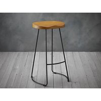 Product photograph showing Bailey Pine Wood Seat Black Metal Leg Bar Stool