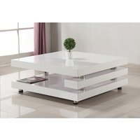 Product photograph showing Borneo High Gloss Coffee Table White And Stainless Steel