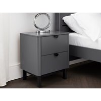 Product photograph showing Chloe 2 Drawer Bedside - Storm Grey Lacquer