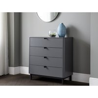 Product photograph showing Chloe 4 Drawer Chest - Storm Grey Lacquer
