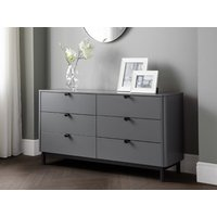 Product photograph showing Chloe 6 Drawer Chest - Storm Grey Lacquer