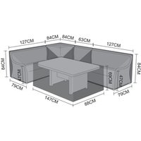 Product photograph showing Corner Sofa Dining Set Cover - Oyster