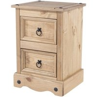 Product photograph showing Corona 2 Drawer Petite Bedside Cabinet