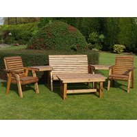 Product photograph showing Dales Garden Bench And Two Chair Set With Coffee Table