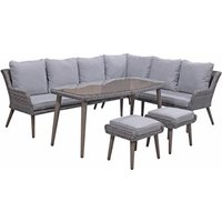 Product photograph showing Danielle Corner Dining Set With Retro Legs