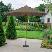 Product photograph showing Dominica Deluxe Wooden Parasol - 3m Round