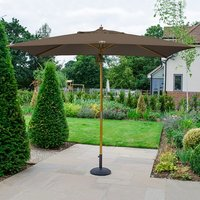 Product photograph showing Dominica Deluxe Wooden Parasol - 3m X 2m Rectangular